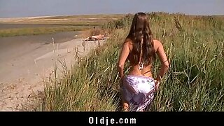 Classy babe riding her big tits in Stunning Beach - Brazzers porno