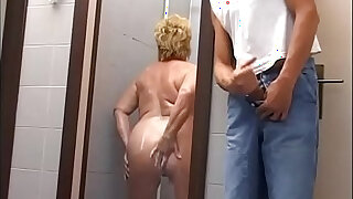 Mature chubby woman attacked and fucked in the gym shower - Brazzers porno