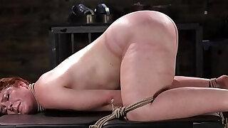 Spreadeagled bondage sub tied up and whipped - Brazzers porno