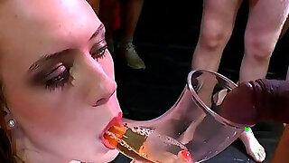 Pretty girl gets pissing through tube - Brazzers porno