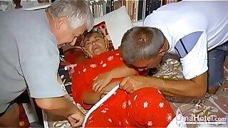 Hairy grandma wakes up - Brazzers porno